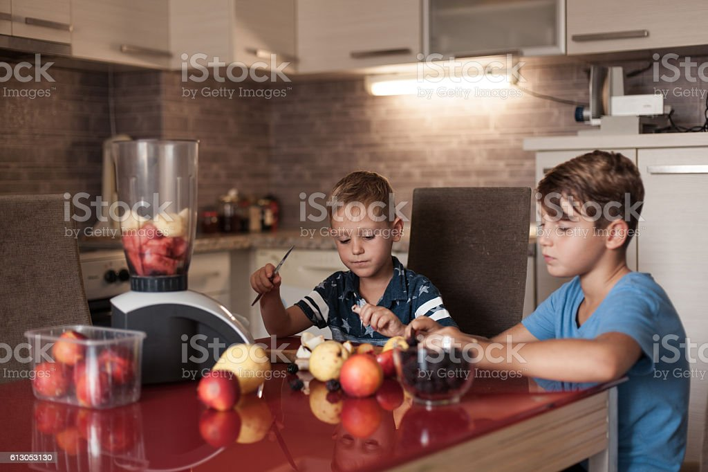 Fruits and children stock photo