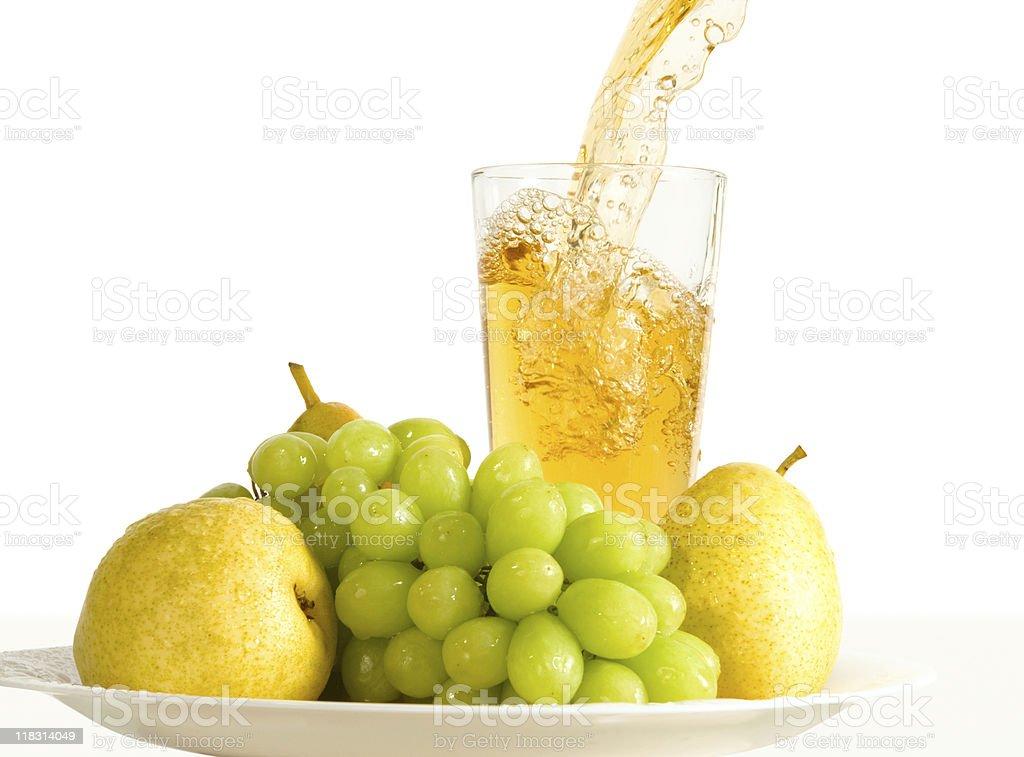 Fruits and juice on a plate royalty-free stock photo