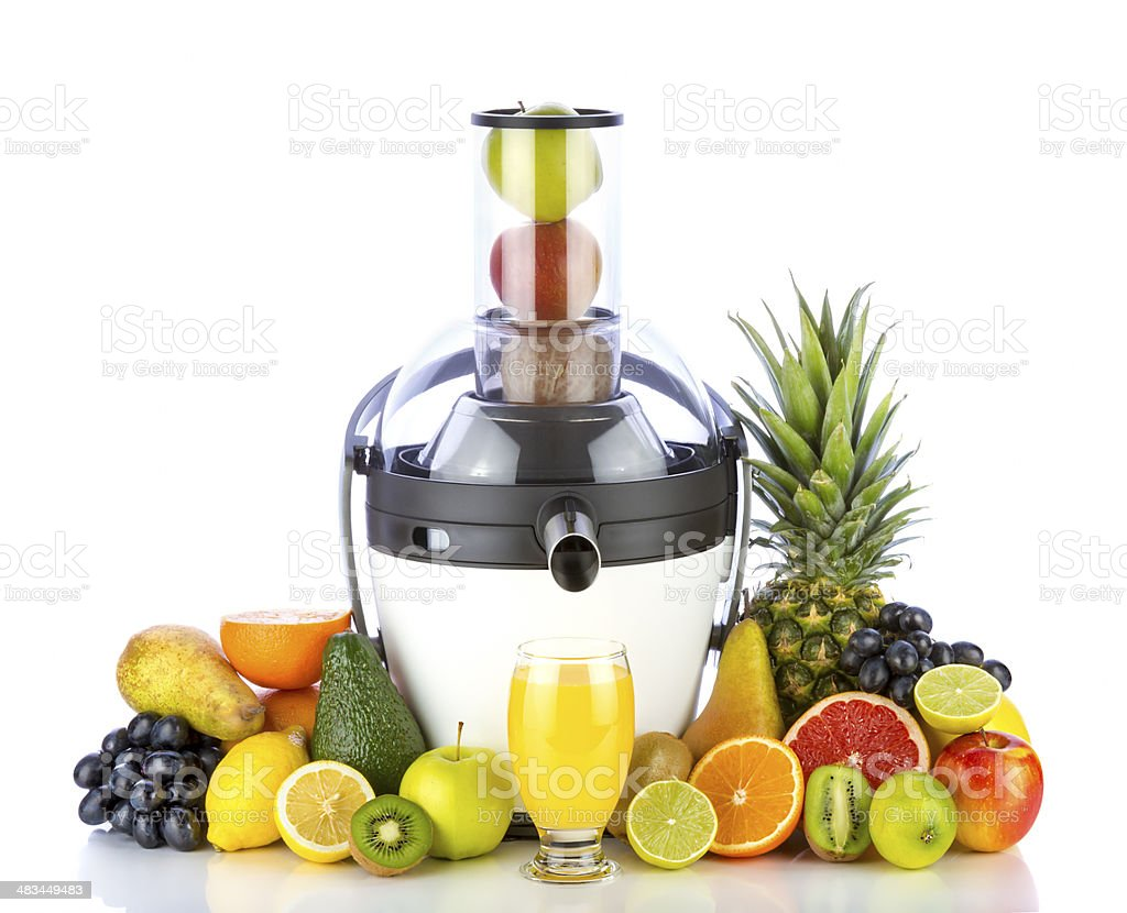 Fruits and juicer stock photo