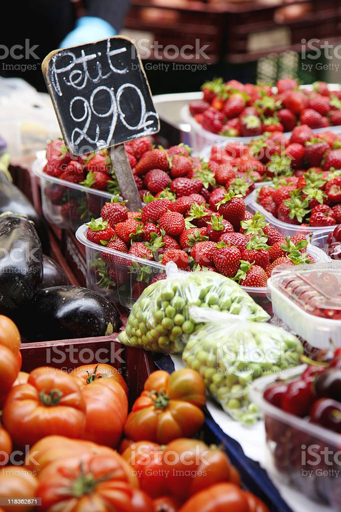 Fruits and vegetabables at a market stall royalty-free stock photo