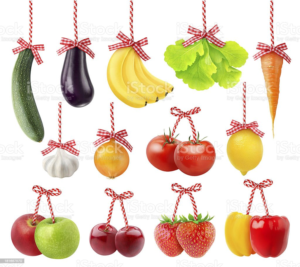 Fruits and vegetables as Christmas decoration royalty-free stock photo