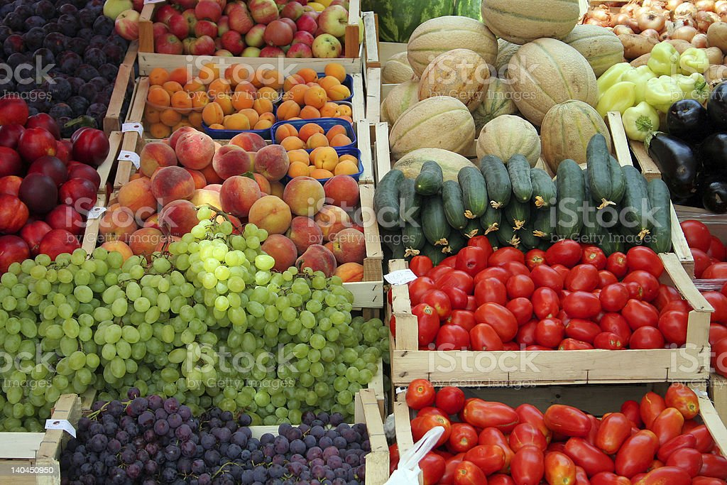 Fruits and vegetables at a farmer's market stock photo