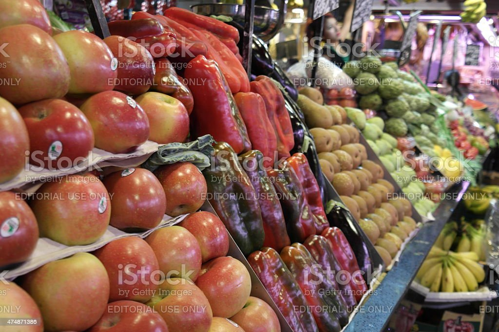 Fruits and vegetables at La Boqueria in Barcelona stock photo