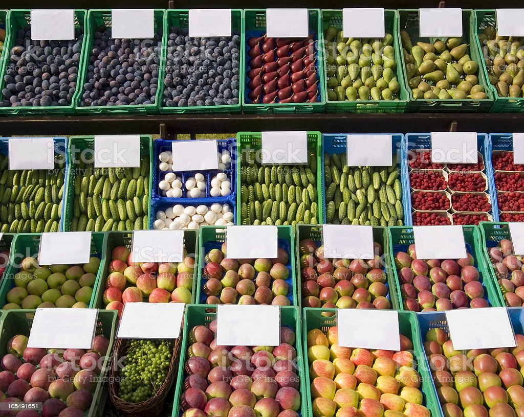 Fruits and vegetables at the market royalty-free stock photo