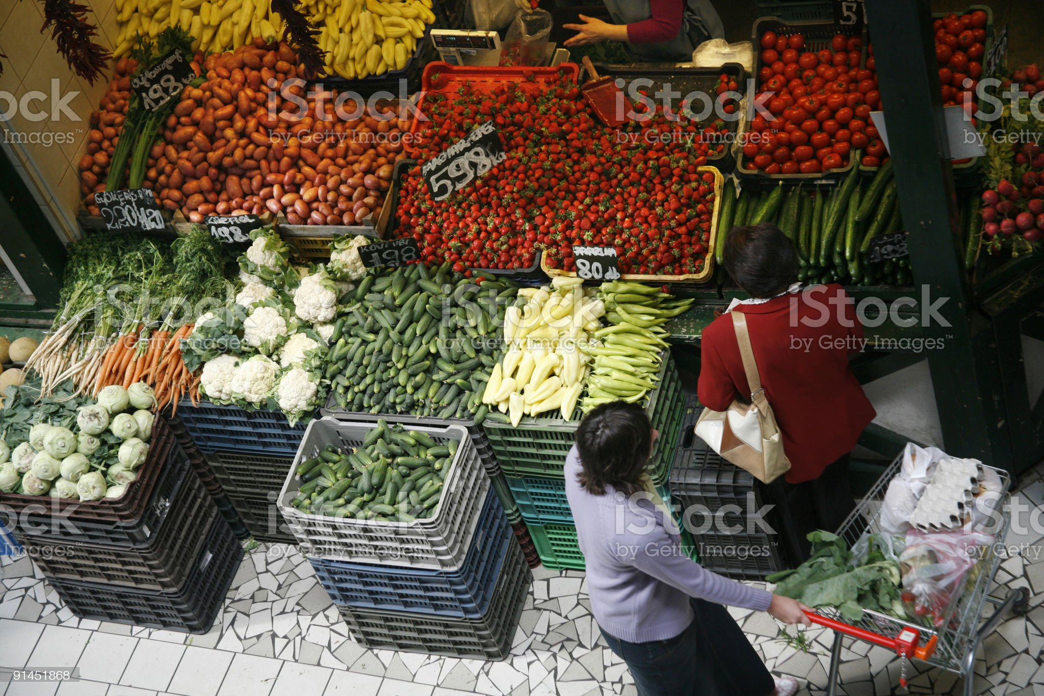 Fruits and vegetables buying royalty-free stock photo