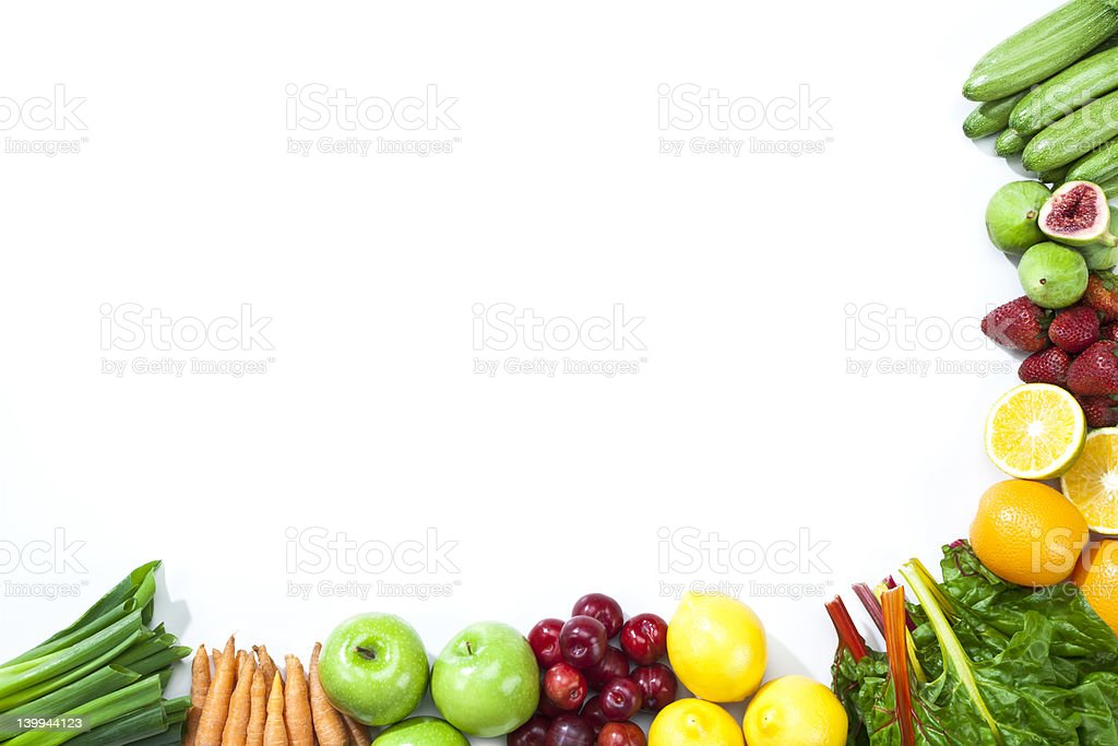 Fruits and vegetables disposed on a half frame shape royalty-free stock photo