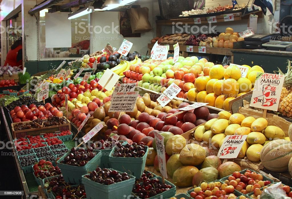 Fruits And Vegetables For Sale stock photo
