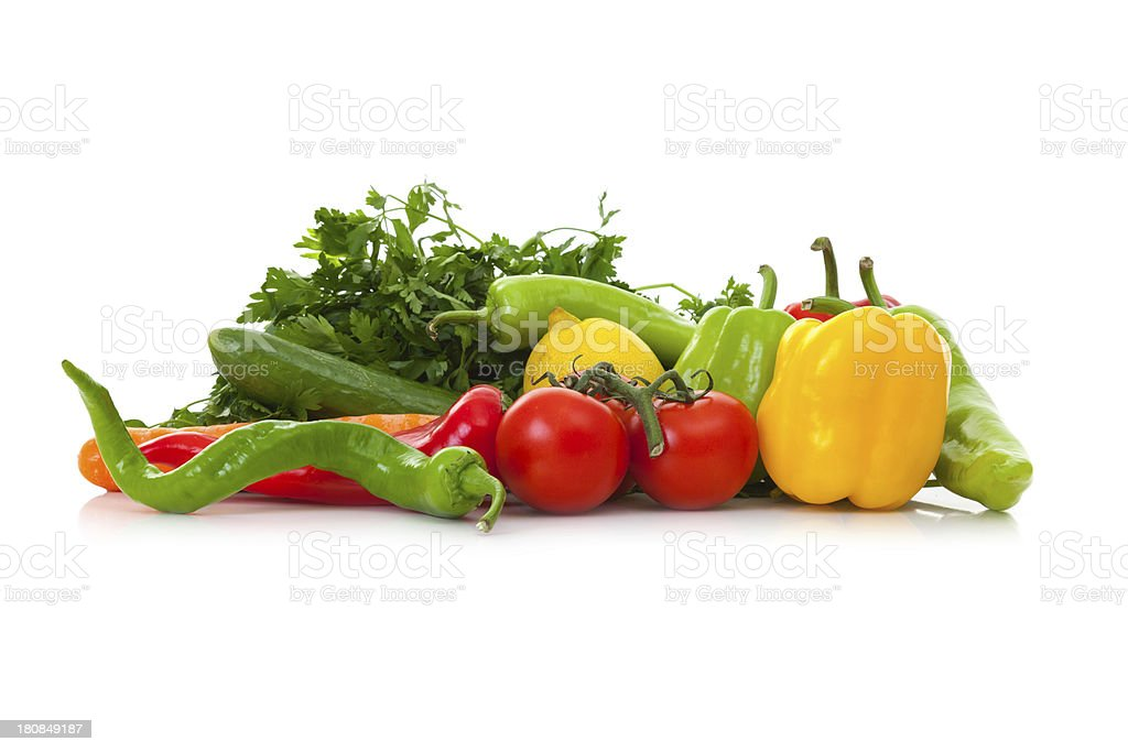 fruits and vegetables isolated on a white background royalty-free stock photo