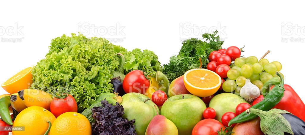 Fruits And Vegetables Isolated On A White Background stock ...