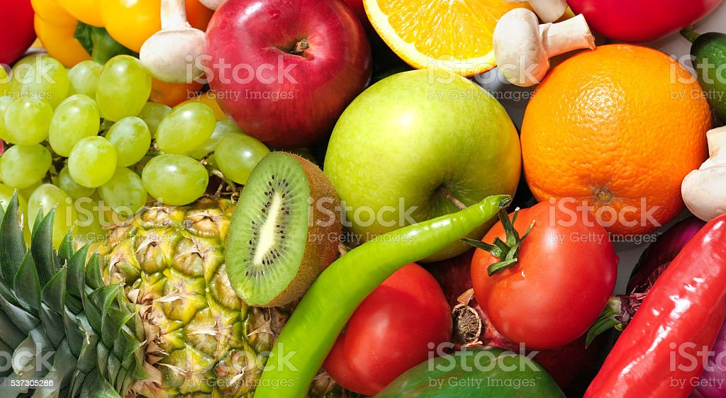 fruits and vegetables isolated on a white stock photo