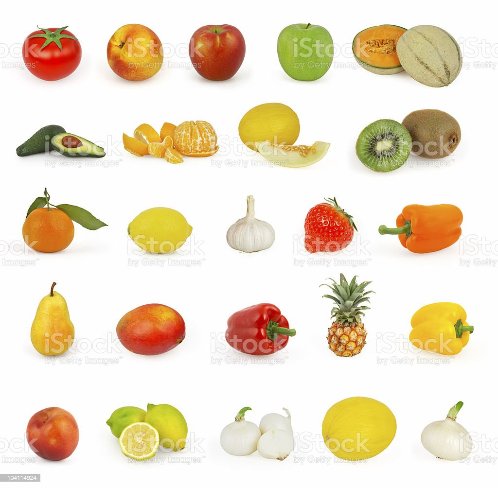Fruits and vegetables isolated on white background royalty-free stock photo