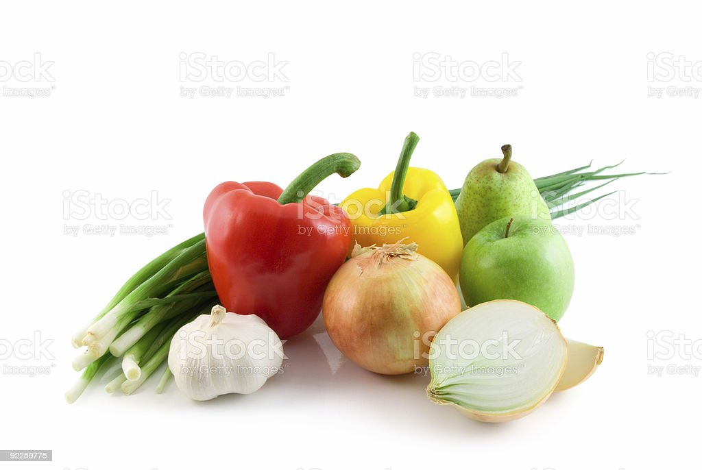 fruits and vegetables isolated royalty-free stock photo