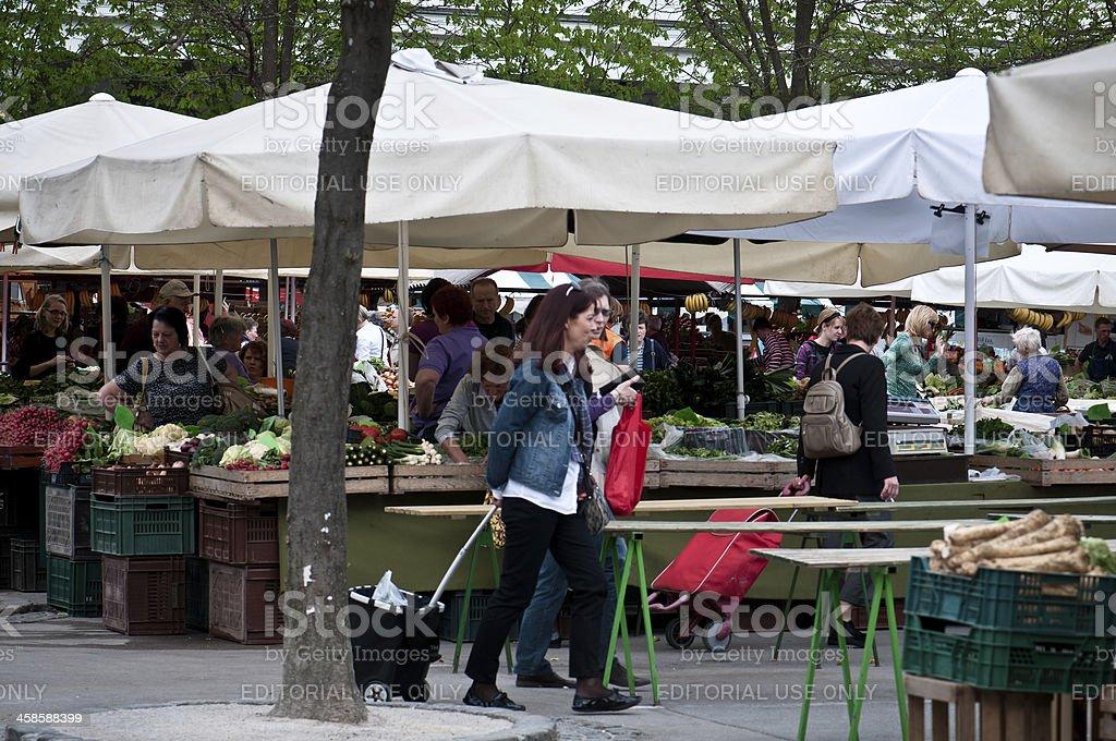 Fruits and vegetables market in Ljubljana, Slovenia royalty-free stock photo