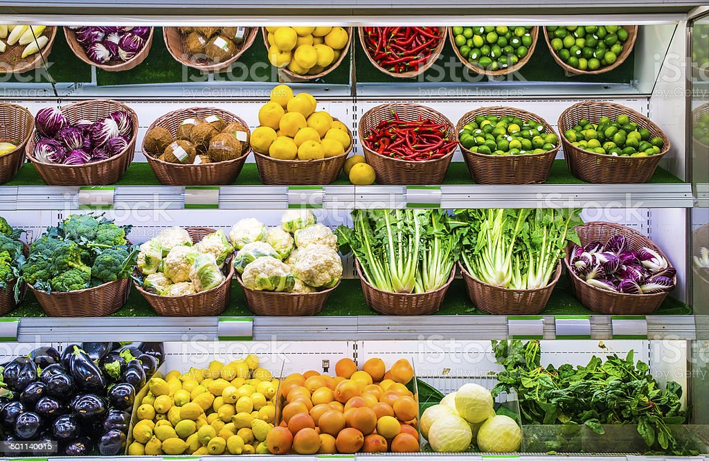 Fruits and vegetables on a supermarket stock photo