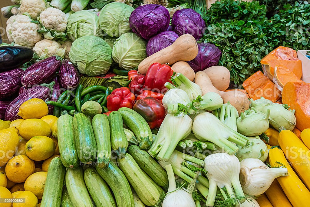 Fruits and vegetables on green market, Jersalem, Israel stock photo