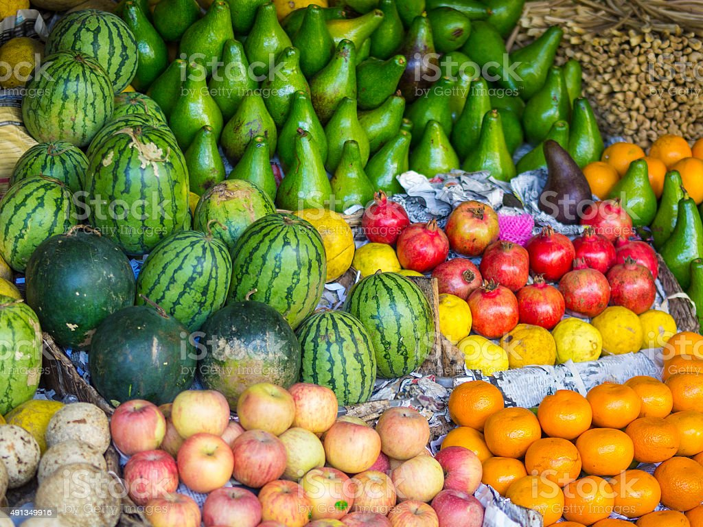 Fruits and vegetables  on market in Kandy, Sri Lanka. stock photo