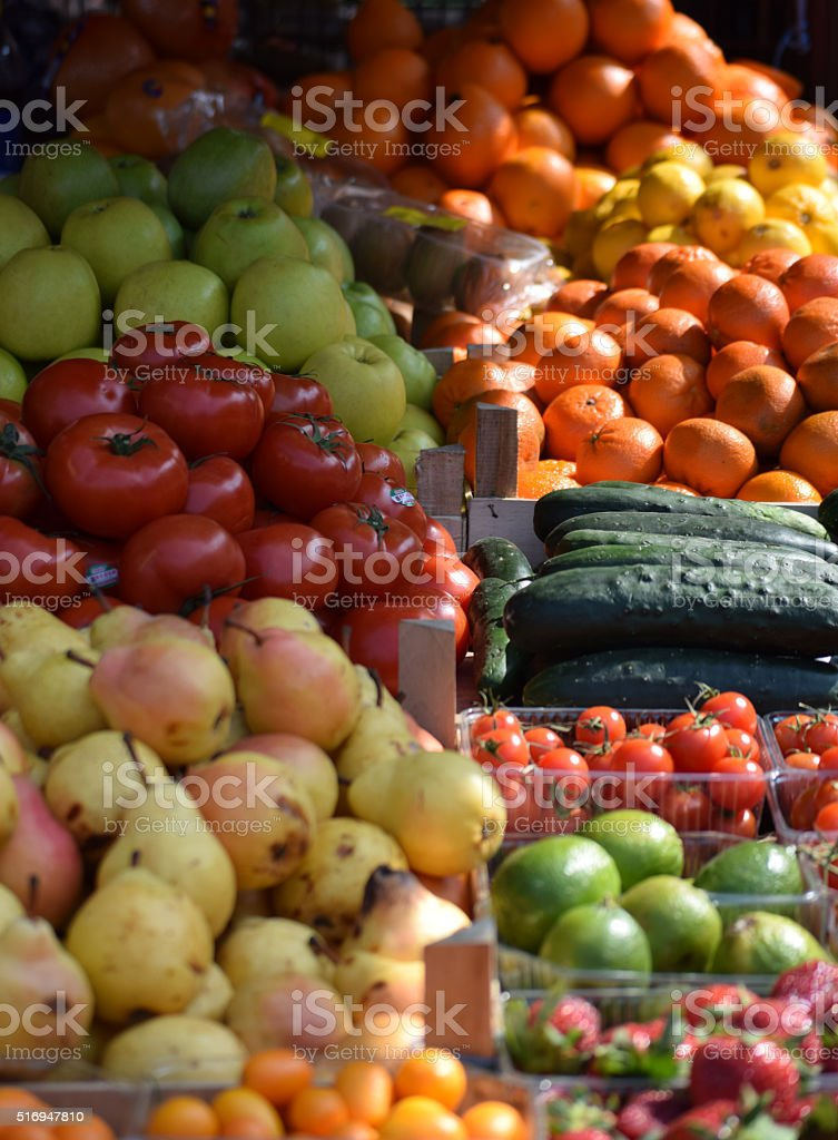 Fruits and vegetables on the market stall stock photo