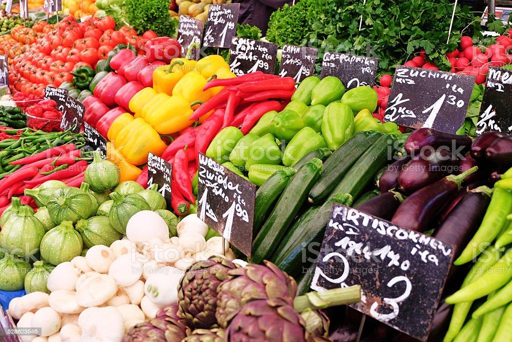 Fruits and vegetables on Viennas famous Naschmarkt, Austria. stock photo
