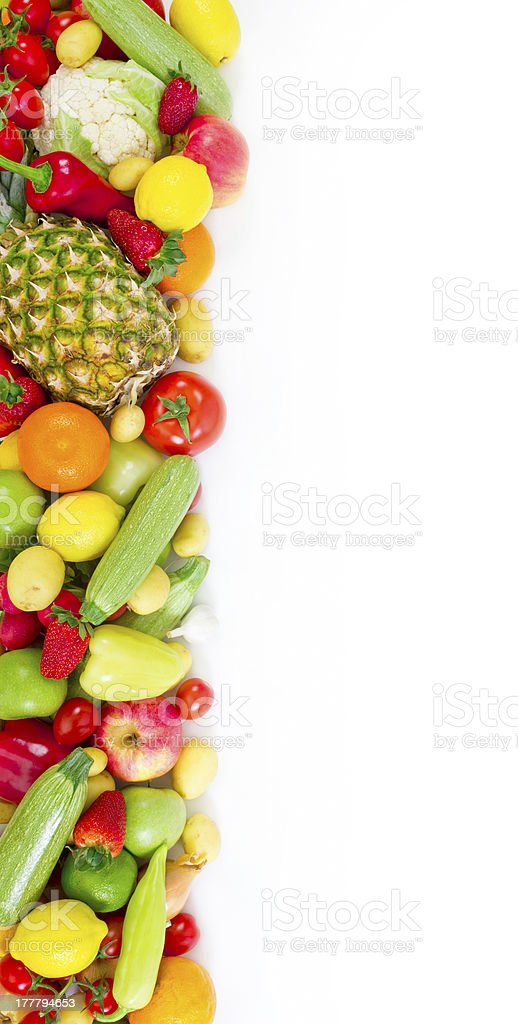Fruits and vegetables on white background royalty-free stock photo
