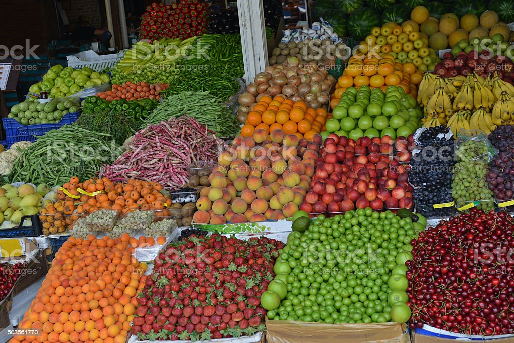 fruits and vegetables sale stock photo