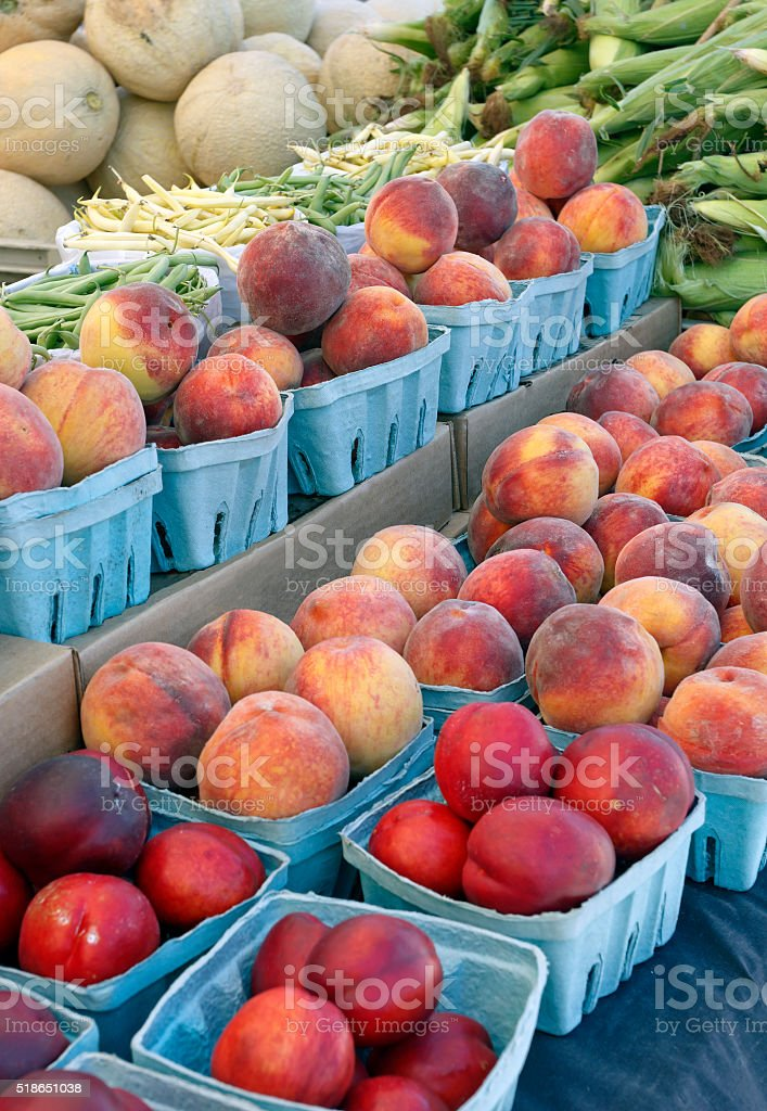Fruits and Vegetables Sold at Market stock photo
