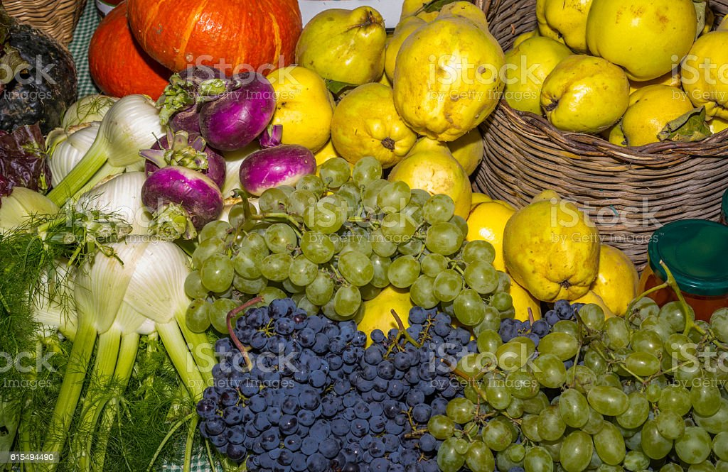 Fruits and vegetables sold during the International White Truffle Fair stock photo