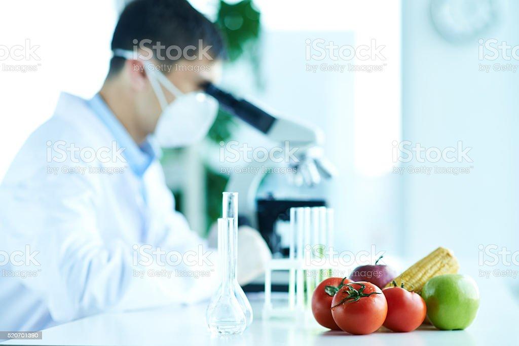 GM fruits and veggies stock photo