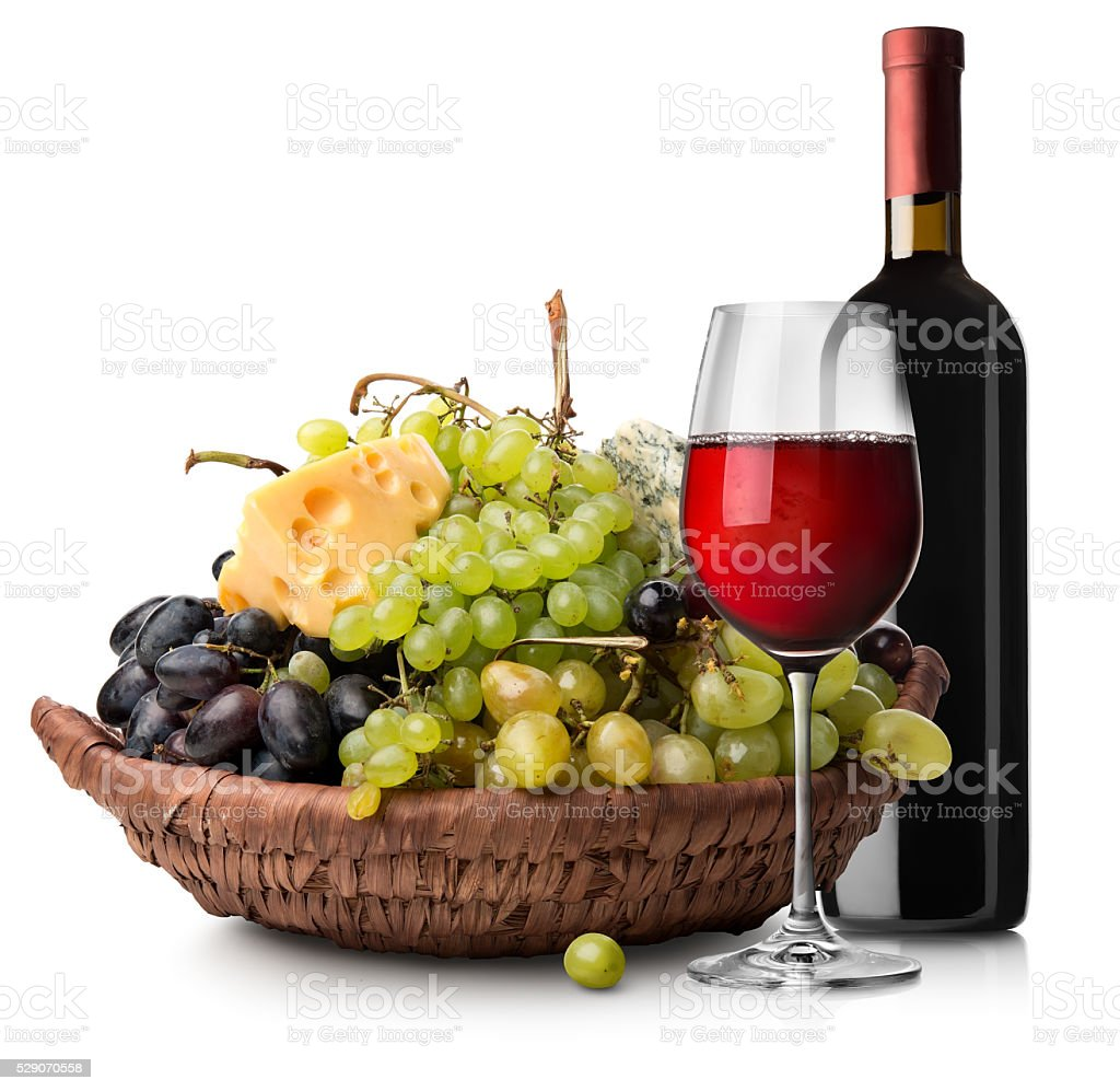 Fruits and wine stock photo