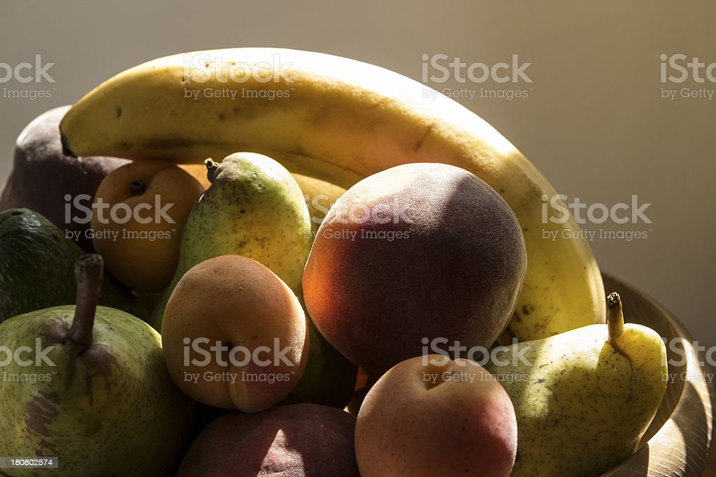 Fruit's basket in a sunshine close up stock photo