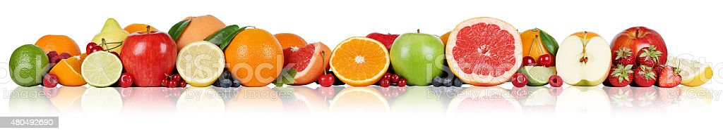 Fruits border oranges lemon apple berry strawberry in a row stock photo