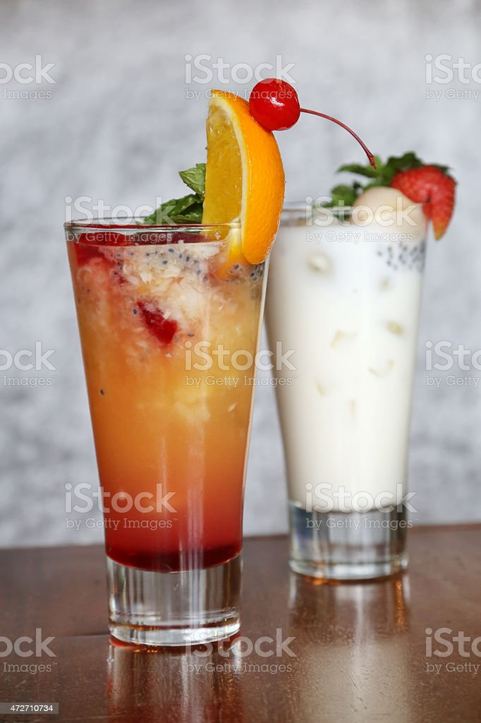 Fruits cocktail and lychee yoghurt stock photo