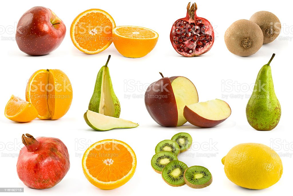 Fruits collection isolated on white background royalty-free stock photo