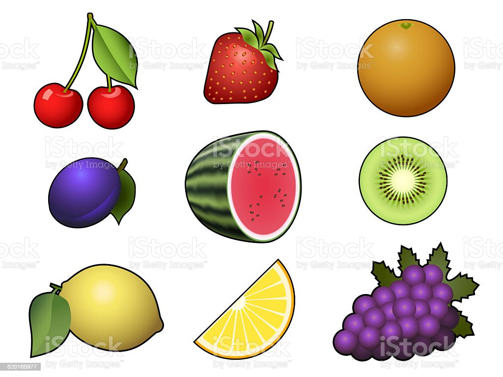 Fruits collection isolated on white background stock photo