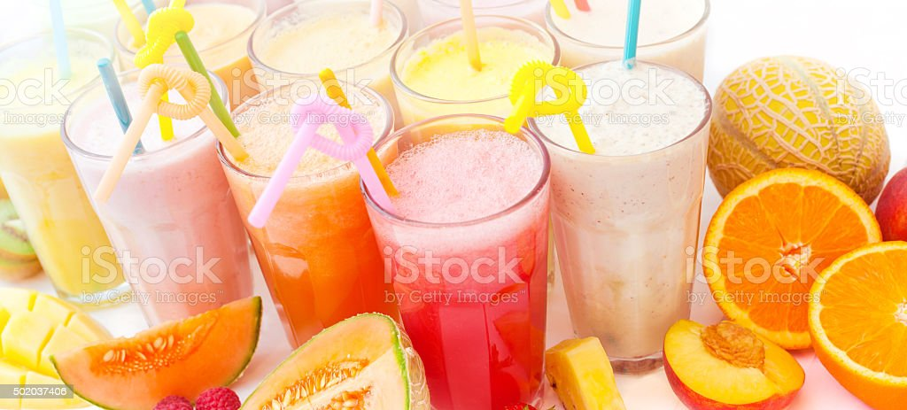 fruits colorful smoothie collection stock photo