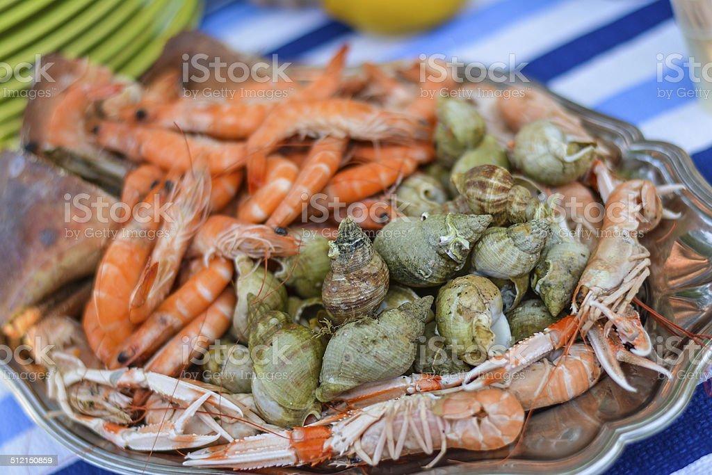 Fruits de mer, crevettes, bulots sur table stock photo
