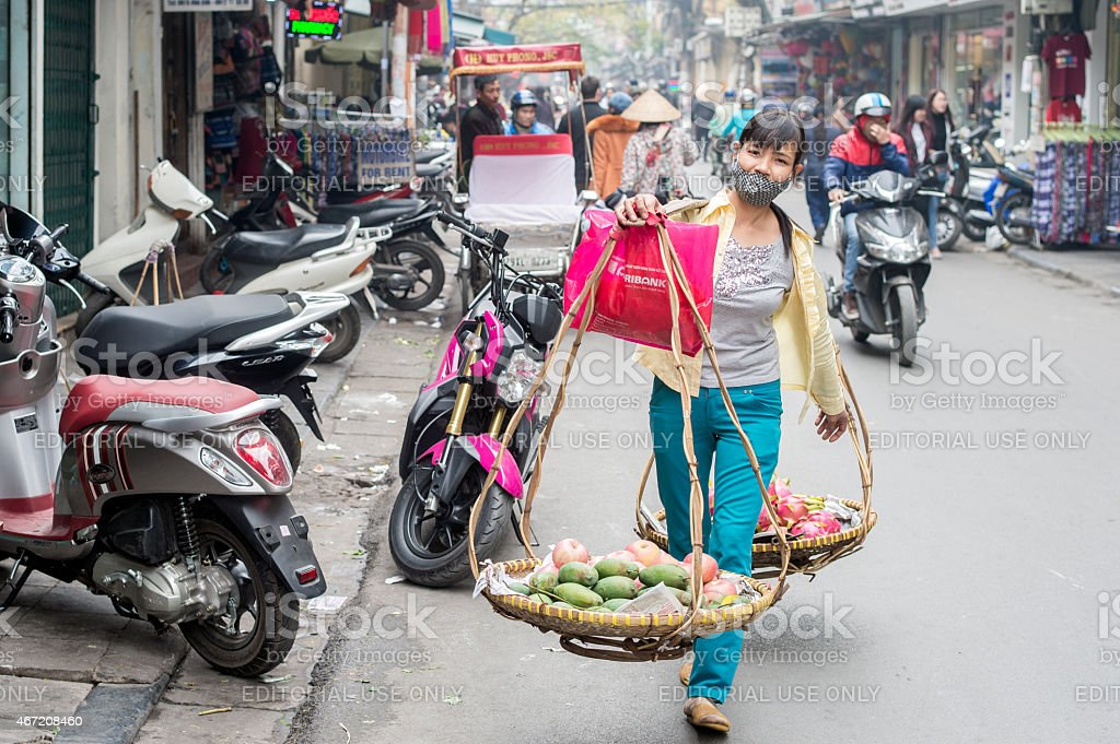 Fruits for sale in Hanoi stock photo
