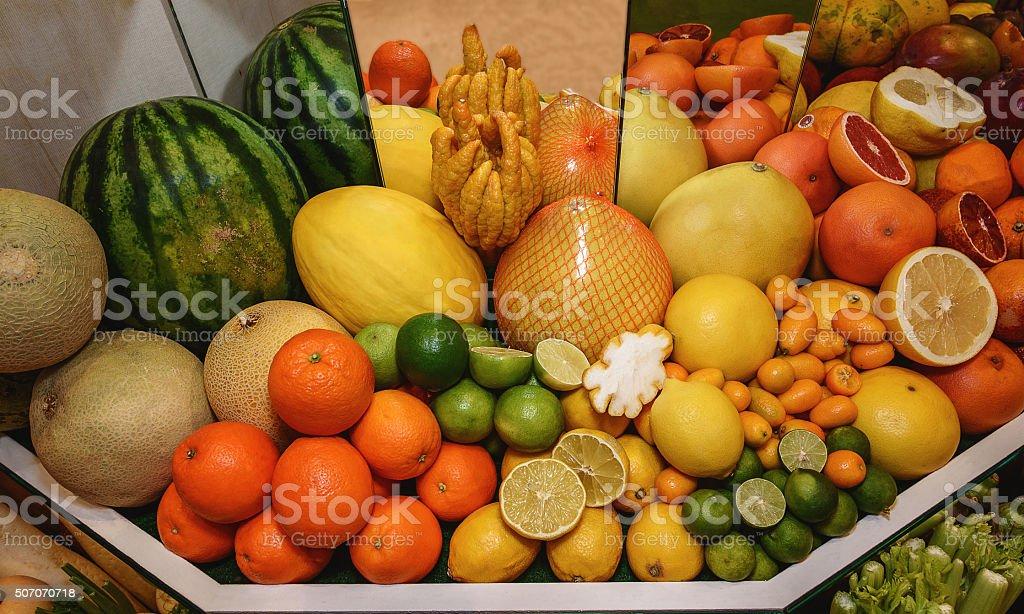 Fruits. Grapefruits, oranges, pamela, kumquat, melon, watermelon, Buddhas hand stock photo