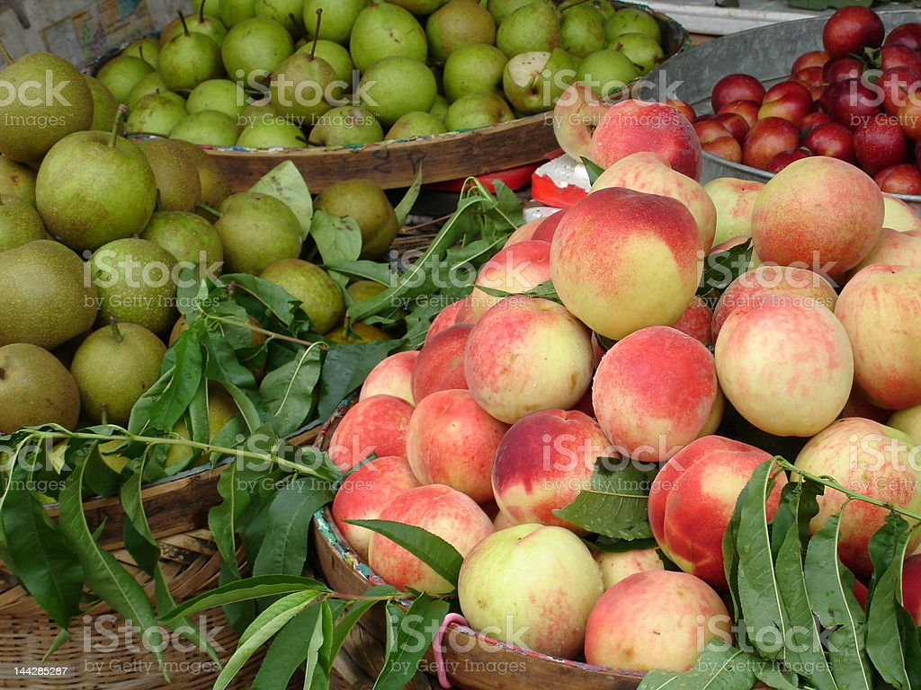 Fruits in chinese market royalty-free stock photo