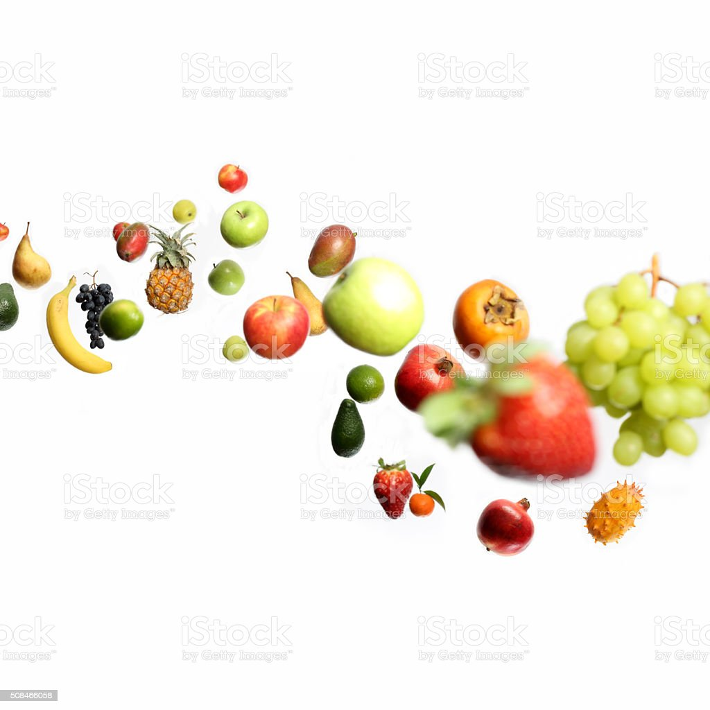 Fruits in motion stock photo