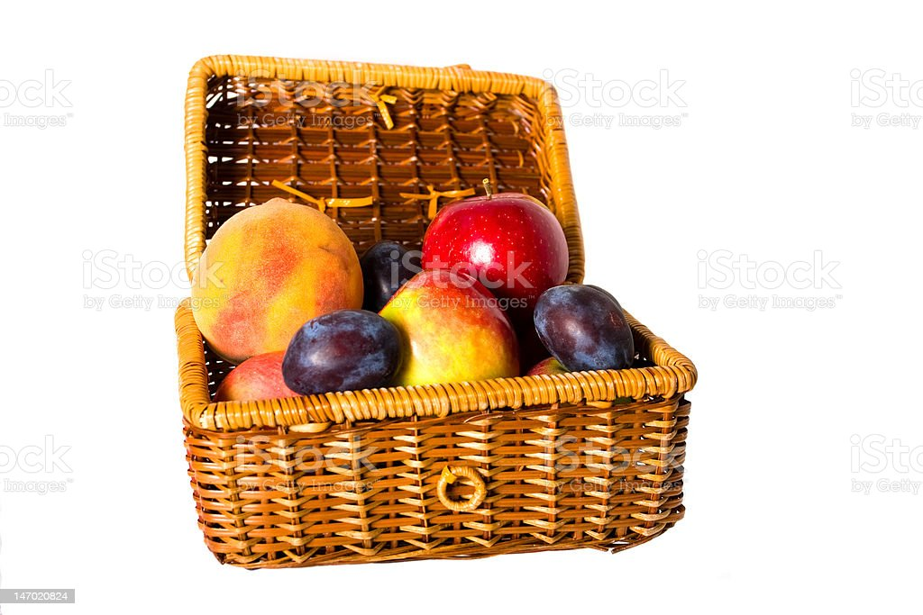 fruits in the picnic hamper royalty-free stock photo