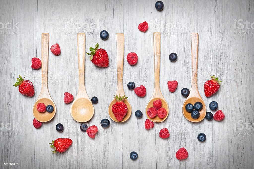 fruits isolated on overhead view with rustic wooden background stock photo