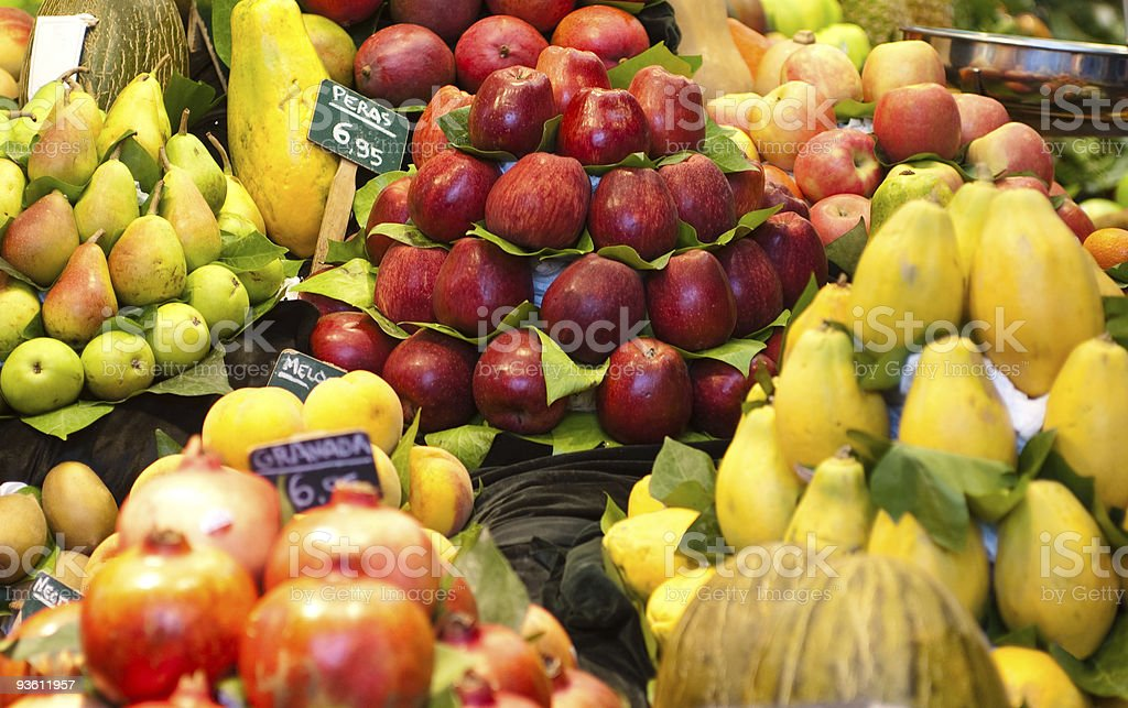 Fruits nicely exposed in a market place royalty-free stock photo