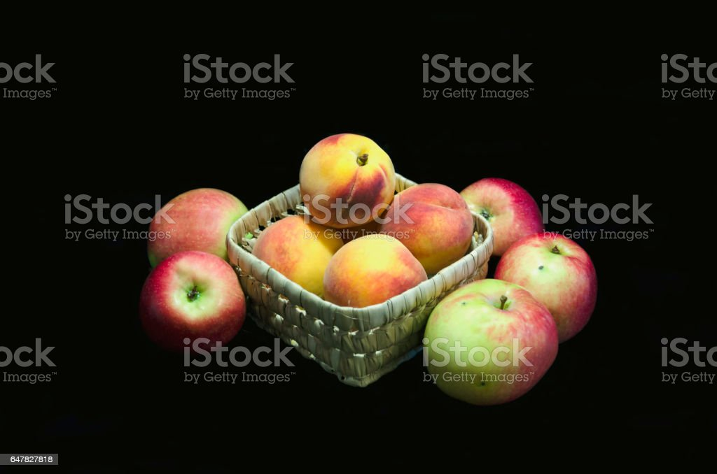 fruits on a dark background stock photo