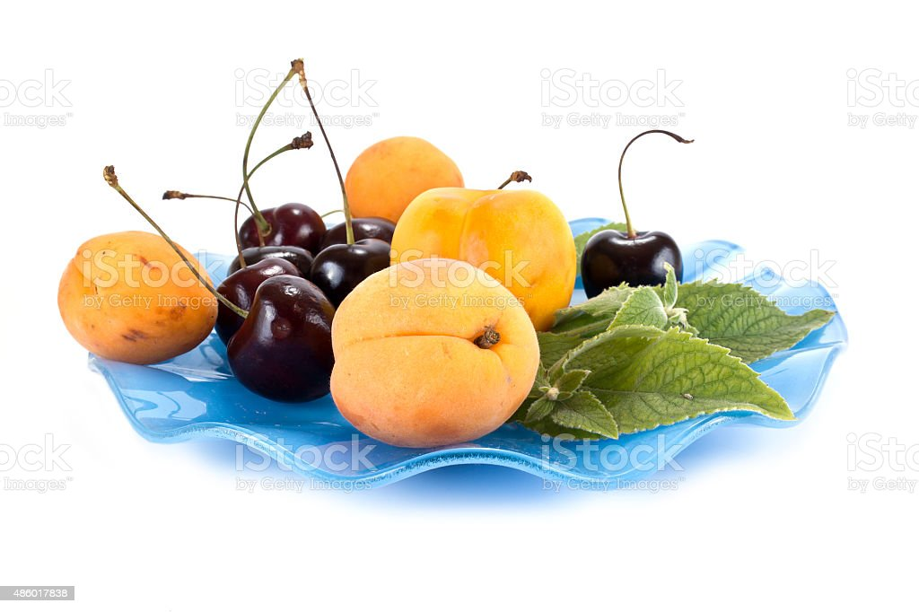 Fruits on a saucer stock photo