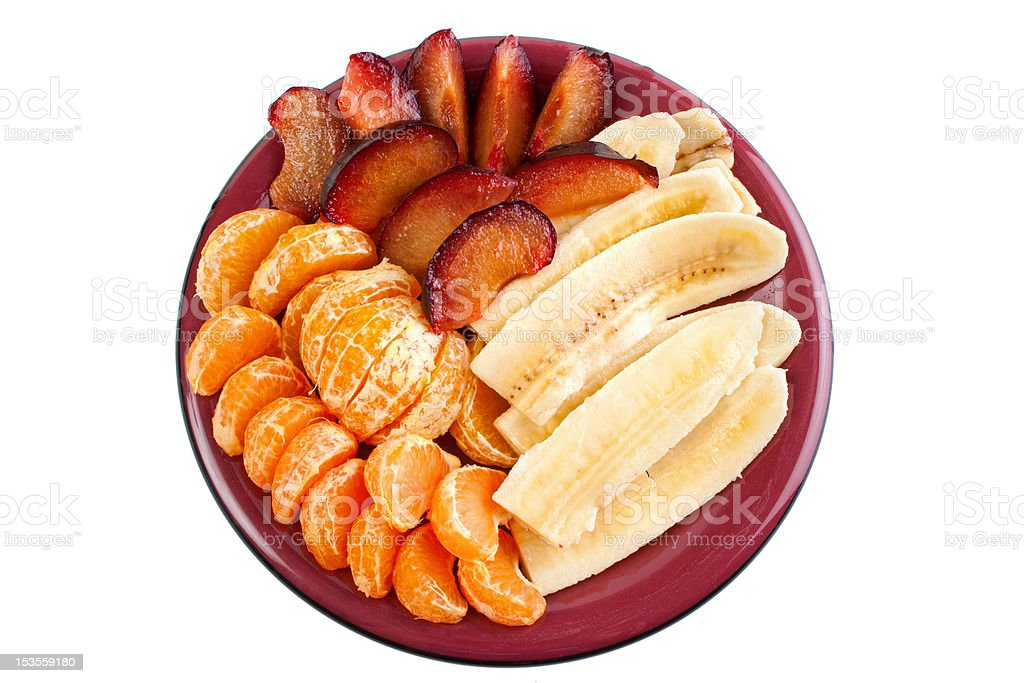 Fruits on dish, upper view royalty-free stock photo