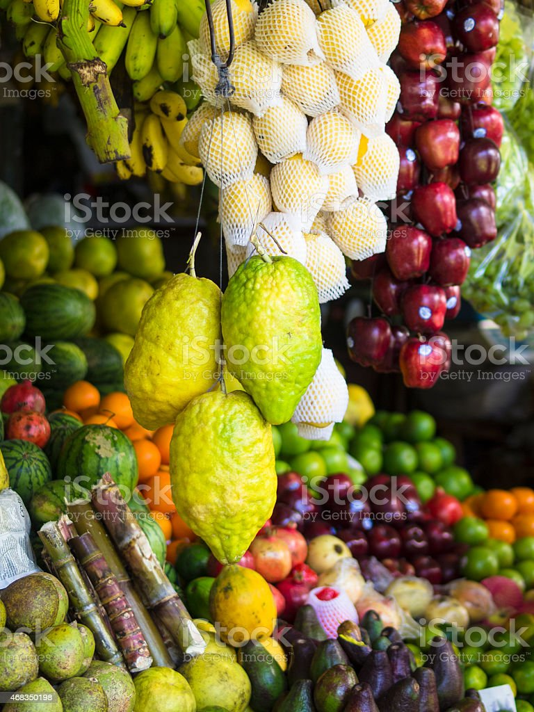 Fruits on market in Kandy stock photo