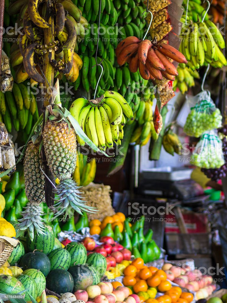Fruits on market in Kandy, Sri Lanka stock photo
