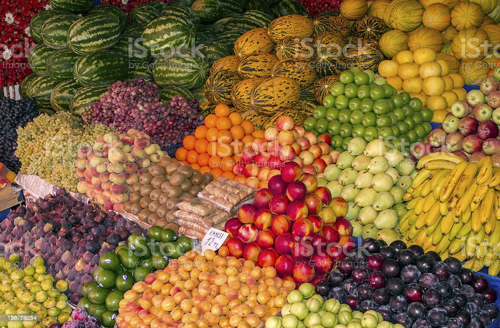 Fruits on sale royalty-free stock photo