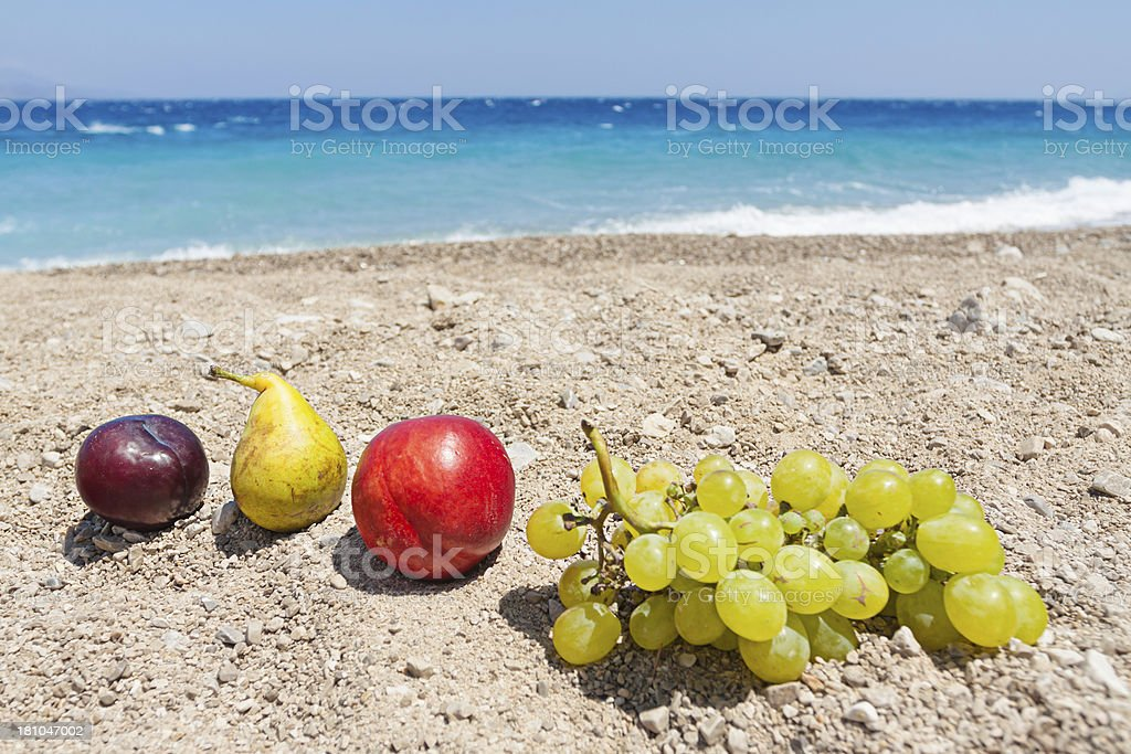 fruits on the beach royalty-free stock photo