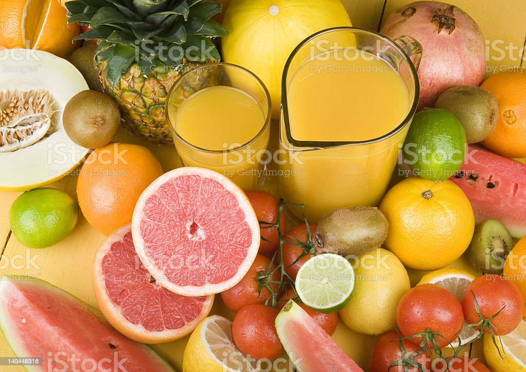 Fruits & Orange Juice royalty-free stock photo